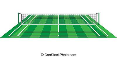 quadra tênis, com, rede, vetorial