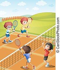 quadra tênis, tocando, crianças