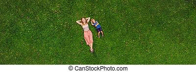 quadracopter, parc, bourdon, format, long, fils, photos, maman, herbe, bannière, mensonge