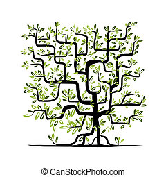 quadrado, árvore, forma, verde, desenho, seu