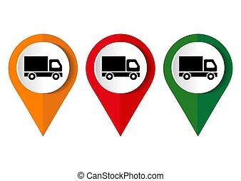 quadrado, ícone, botão, internet, caminhão