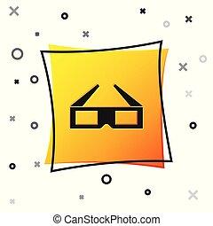 quadrado, ícone, cinema, button., amarela, isolado, experiência., vetorial, pretas, ilustração, branca, óculos, 3d