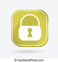quadrado, ícone, padlock
