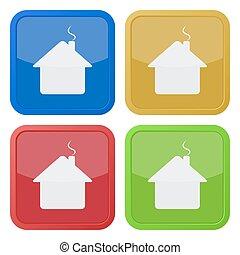 quadrado, ícones, casa, -, quatro, jogo, chaminé