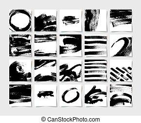 quadrado, 20, escovas, padrão, jogo mão, tinta preta, grunge, desenho