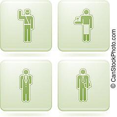 quadrado, 2d, set:, olivine, ocupação, ícones