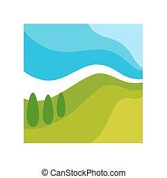 quadrado, abstratos, isolado, ilustração, selvagem, quadro, paisagem