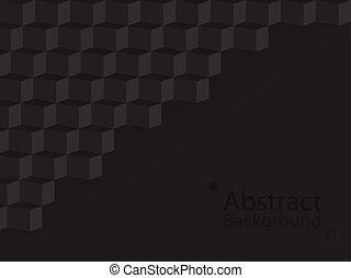 quadrado, abstratos, modernos, escuro, papel, experiência preta, 3d