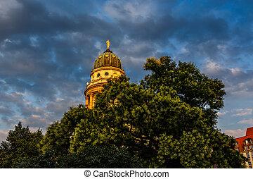 quadrado, alemão, gendarmenmarkt, alemanha, berlim, catedral