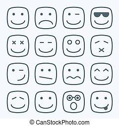 quadrado, amarela, magra, caras, emocional, linha, ícone