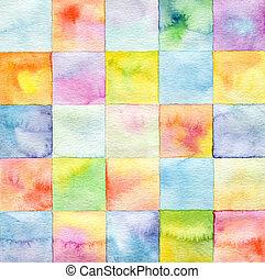 quadrado, aquarela, fundo, abstratos, pintado