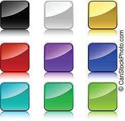 quadrado, arredondado, cor, corners., botões, em branco