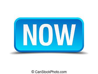 quadrado azul, botão, isolado, realístico, agora, 3d