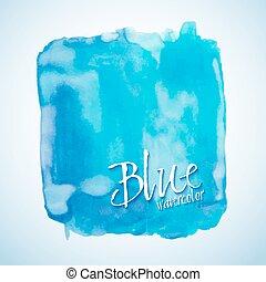 quadrado azul, elemento, aquarela, vetorial, desenho