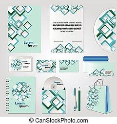 quadrado azul, elementos, desenho, modelo, papelaria