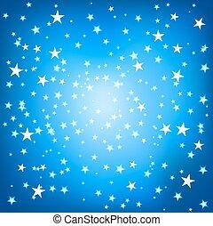 quadrado azul, fundo, estrelas
