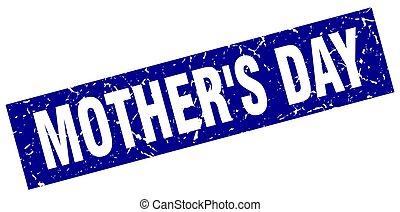 quadrado azul, grunge, mãe, selo, dia