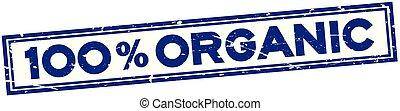 quadrado azul, grunge, selo, cento, borracha, orgânica, fundo, selo, palavra, 100, branca