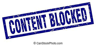 quadrado azul, grunge, selo, conteúdo, bloqueado