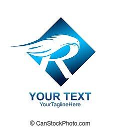 quadrado azul, modelo, negócio, companhia, inicial, r, desenho, letra, logotipo, asa, identidade, colorido