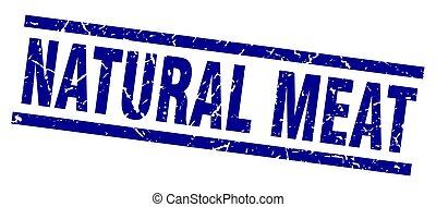 quadrado azul, natural, carne, selo, grunge