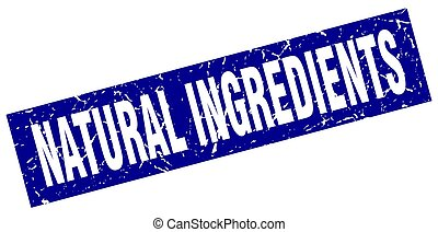 quadrado azul, natural, ingredientes, selo, grunge