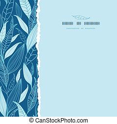quadrado azul, padrão, folhas, rasgado, seamless, fundo,...