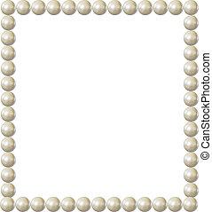 quadrado, borda, quadro, isolated., vindima, pérola, elemento, elegante, vetorial, desenho, em branco