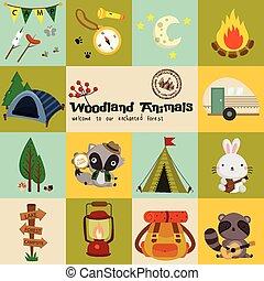 quadrado, bosque, animal, acampamento