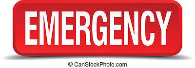 quadrado, botão emergência, isolado, fundo, branco vermelho, 3d