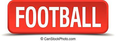 quadrado, botão, futebol, isolado, fundo, branco vermelho, 3d