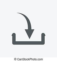 quadrado, botão, ilustração, pretas, internet, download, original, ícone