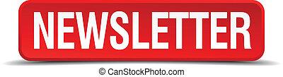 quadrado, botão, isolado, branca, newsletter, vermelho, 3d