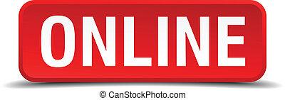 quadrado, botão, isolado, online, branco vermelho, 3d