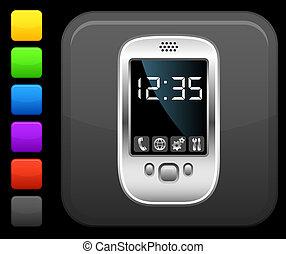 quadrado, botão, modernos, telefone pilha, ícone internet
