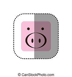 quadrado, coloridos, adesivo, rosto, porca, quadro