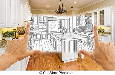 quadrado, combinação, foto, projeto feito encomenda, formule, mãos, desenho, cozinha