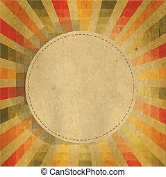 quadrado, dado forma, sunburst, com, borbulho fala
