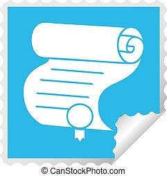 quadrado, desfolha, adesivo, importante, documento, caricatura