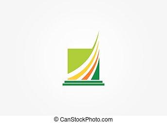 quadrado, finanças, negócio, abstratos, logotipo, volta