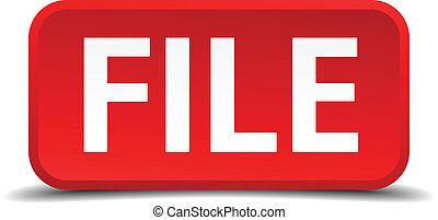 quadrado, fundo, botão, isolado, arquivo, branco vermelho, 3d