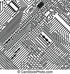 quadrado, fundo, -, tábua, circuito, eletrônico