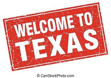 quadrado, grunge, selo, bem-vindo, vermelho, texas
