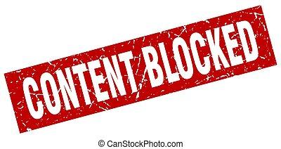 quadrado, grunge, selo, conteúdo, vermelho, bloqueado