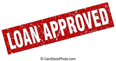 quadrado, grunge, selo, empréstimo, aprovado, vermelho