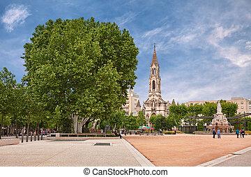 quadrado, jardim, france:, esplanade, nimes,...