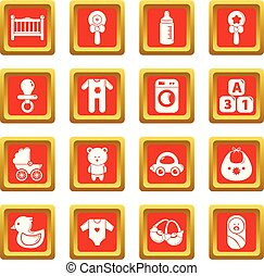 quadrado, jogo, ícones, nascido, vetorial, bebê, vermelho