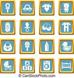 quadrado, jogo, ícones, sapphirine, nascido, vetorial, bebê