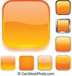 quadrado, laranja, app, icons.