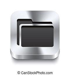 quadrado, metal, botão, -, pasta, perspektive, ícone